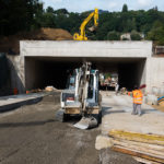View from above: the underpasses through which the railcars of the new funicular will pass