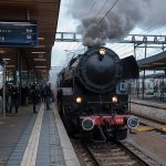 The steam engine is almost surreal in the middle of the otherwise heavily frequented Luxembourg central station.