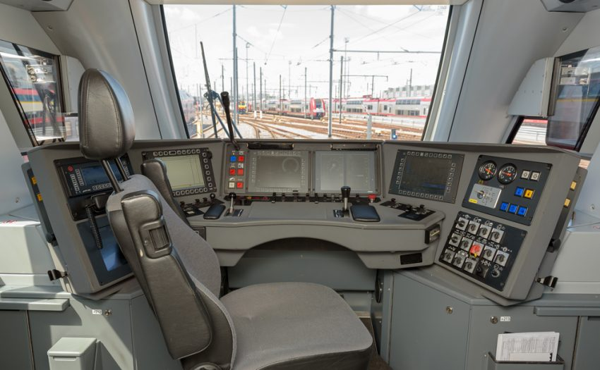 The view of a train driver, the cab of a KISS